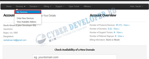 Change-Cpanel-Password-From Client Area