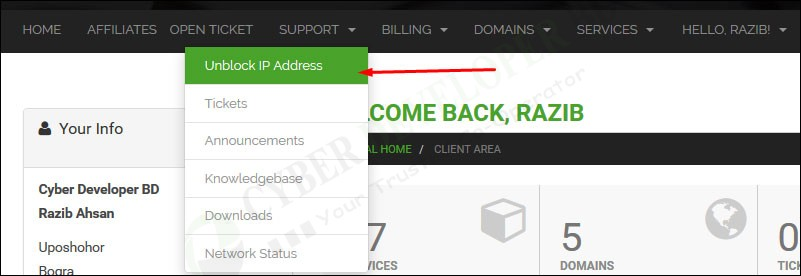 Unblocked IP Address From Client Area